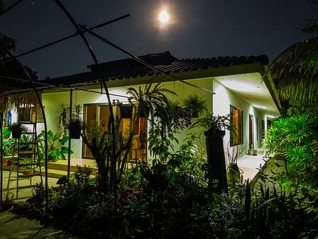 Full Moon Night, Home, Garden, Night Photograph