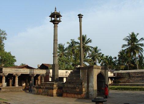 Temple, Lamp Post, Stone, Garuda Stambha, Structure