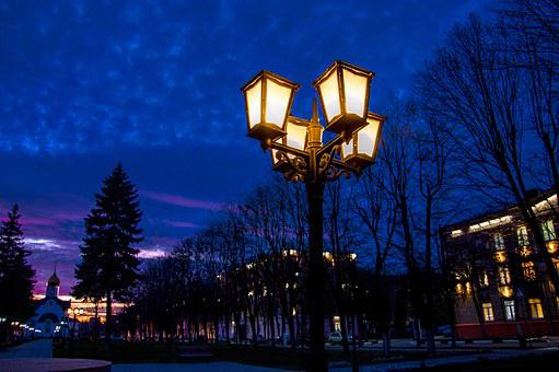 Night, Lamp Post, Russian Night, Evening, Glow, Blue