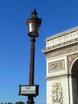 Lamp Post, Air, Paris, Arc De Triomphe, France