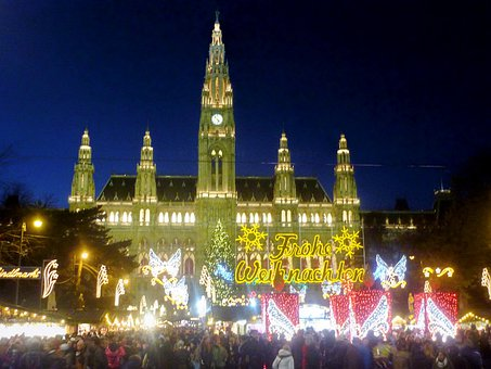Christmas Market, Vienna, Town Hall, Lights