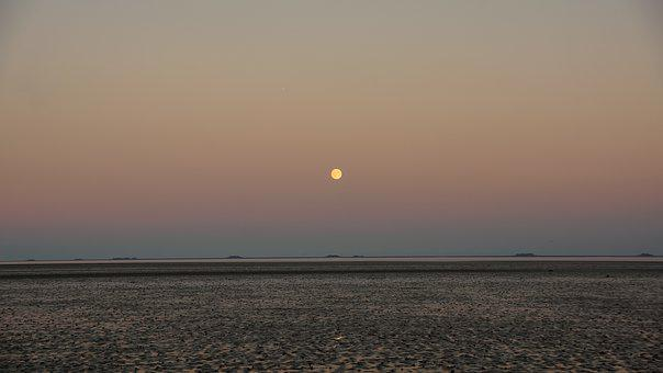 Sea, Intertidal Tone, Low Tide, Evening, Night, Moon