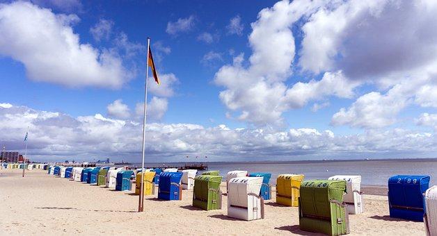 North Sea, Island Föhr, Beach Chair, Ebb, Recovery, Sky