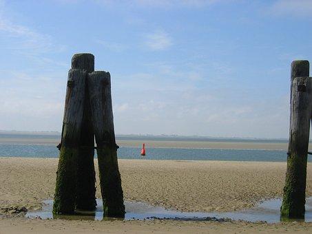Wangerooge, East Pier, North Sea Island Of, Blue Balje