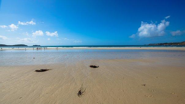 Beach, Sky, Ebb, Low Tide, Falling Tide, Water, Ocean