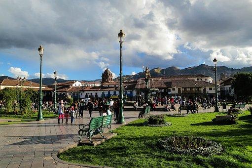 Plaza De Armes, Cusco, Peru, Lamp Posts, Benches, Grass