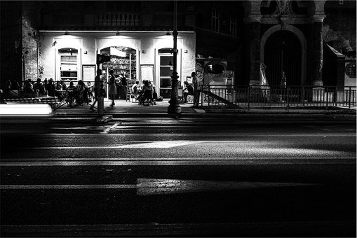 Restaurant, People, Night, Patio, Street, Lamp Posts