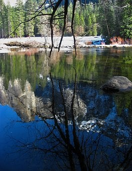 Yosemite, River, Surface Of The River, Water