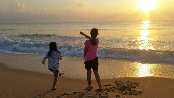 Sea, Sandy Beach, Morning, Children, Sunset, Wave