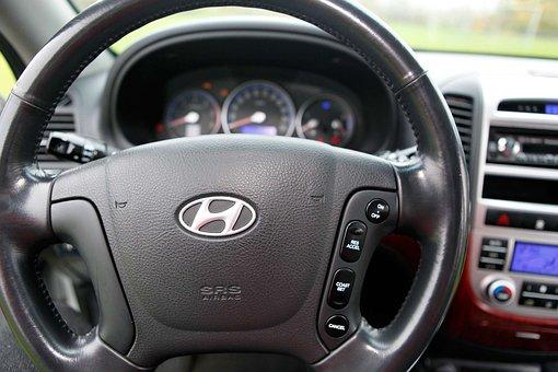 Hyundai, Santa Fe, Steering Wheel, Auto, The Dashboard