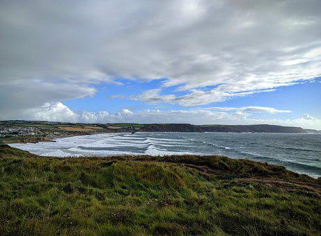 Sea, Waves, Tide, Coast, Sky, Horizon, Cornwall