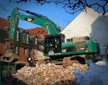 Excavators, Demolition, Site, Construction Work