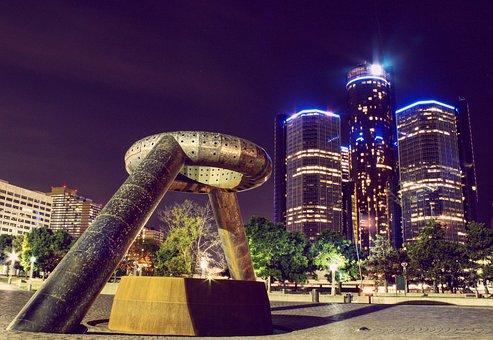 Detroit, Downtown, City, Architecture, Michigan, Travel
