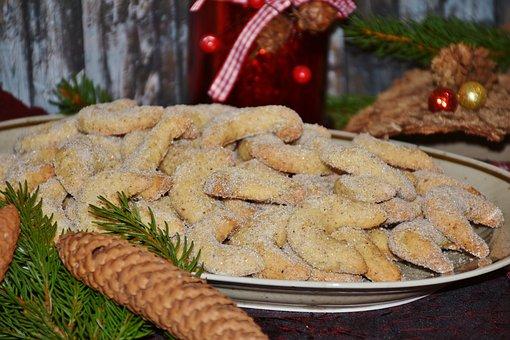 Vanillekipferl, Cookie, Christmas Cookies, Cone Shape