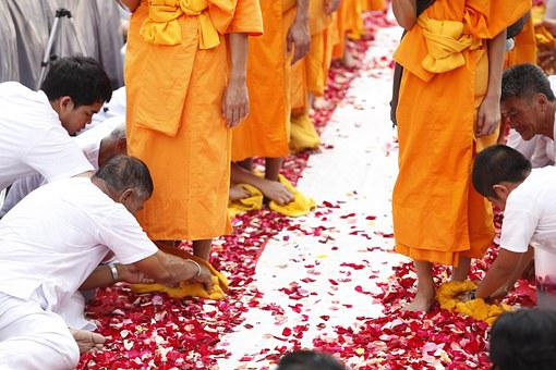 Buddhists, Monks, Walk, Tradition, Ceremony, Thailand