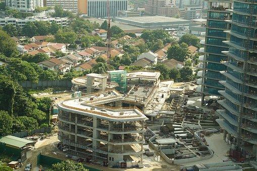 Asian Construction Site, Building In Progress
