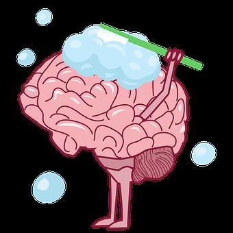 Brain, Toothbrush, Brushing, Bubbles, Mind