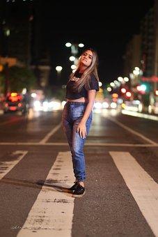 Street, Model, Night, São Paulo, City, Portrait, Beauty