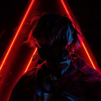 Neon, Anime, Cyberpunk, Mandala, Street, Urban, Night