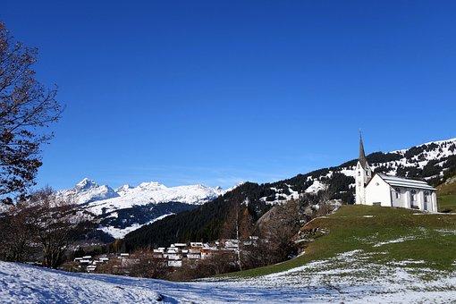 Church, Winter, Siat, Graubünden