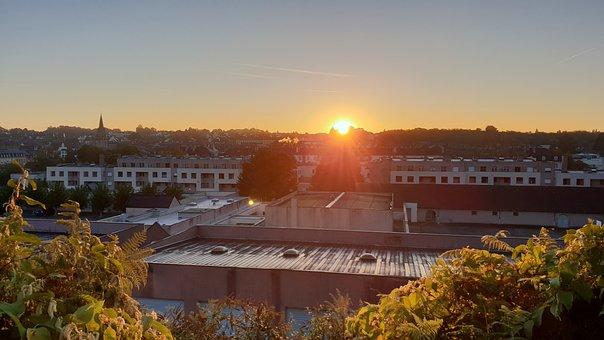 City, Sun, Sunset, Twilight, Brittany, Landscape
