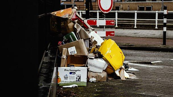 Trash, Urban, Street, City, Boxes, Plastic, Roadsign