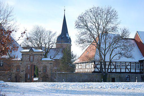 Monastery, Winter, Steeple, Fachwerkhaus, Goal