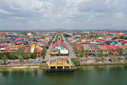 Kampot, City, River, Panorama, Buildings, Town, Urban