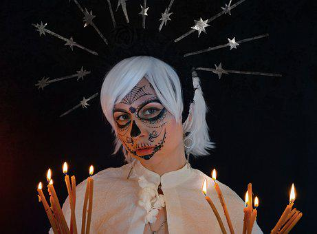 Woman, Costume, La Calavera Catrina, Candles, Flame