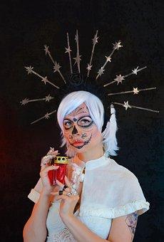 Woman, Costume, La Calavera Catrina, Lantern, Calavera