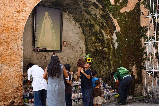 Religion, Women, Devotion, Altar, Offering, Flowers