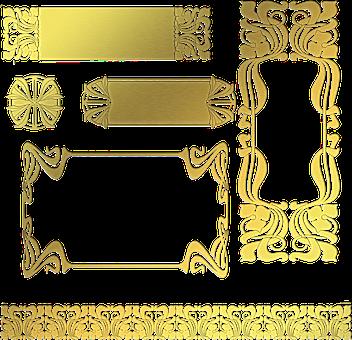Frames, Art Nouveau, Gold Foil, Gold Foil Frames