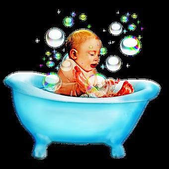 Baby, Bathtub, Bubbles, Baby Bath, Bath, Halftone