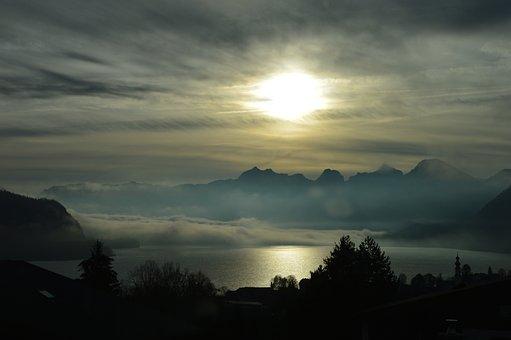 Lake, Mountains, Fog, Silhouette, Clouds, Sun, Sunlight