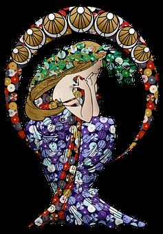 Woman, Art Nouveau, Long Dress, Long Hair, Bohemian