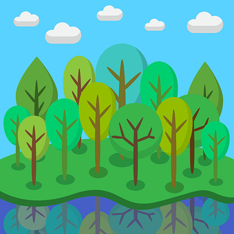 Trees, Forest, River, Reflection, Water, Plants, Land