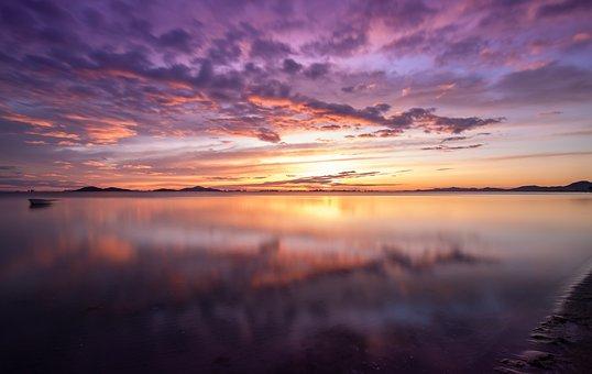 Sunrise, Clouds, Lake, Reflection, Water, Sunset, Dusk