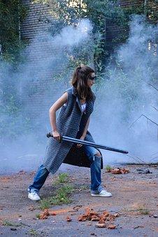 Woman, Sword, Smoke, Character, Girl, Person, Weapon