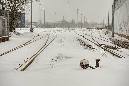 Winter, Snow, Blizzard, Tristan, Train, Gleise
