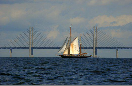 Bridge, Oresund, Sailing Ship, Sky, Sweden, Denmark