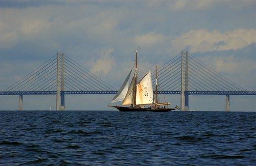 Bridge, Oresund, Sailing Ship, Sky, Sweden, Denmark