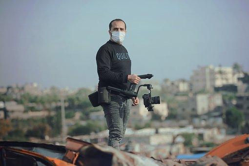 Man, Mask, Journalist, Camera, Camera Man, Videographer