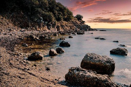 Sunset, Beach, Coast, Rocks, Rocky Beach, Sea, Sky