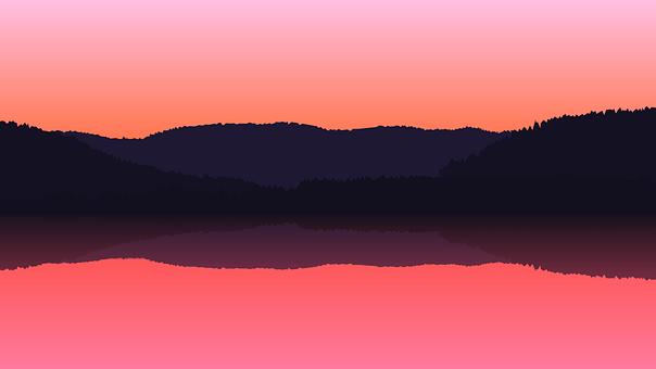 Lake, Mountains, Sunset, Dusk, Twilight, Forests