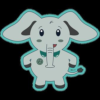 Elephant, Baby Elephant, Calf, Line Drawing, Line Art
