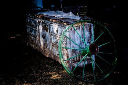 Wheel, Cart, Wood, Age, Old, Nostalgia, Farm, Iron