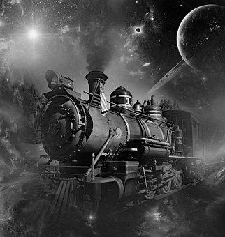 Locomotive, Universe, Galaxy, Fog, Cosmos