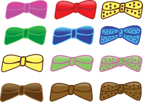 Bows, Pok-a-dots, Multi-color, Hair Ties, Barrettes