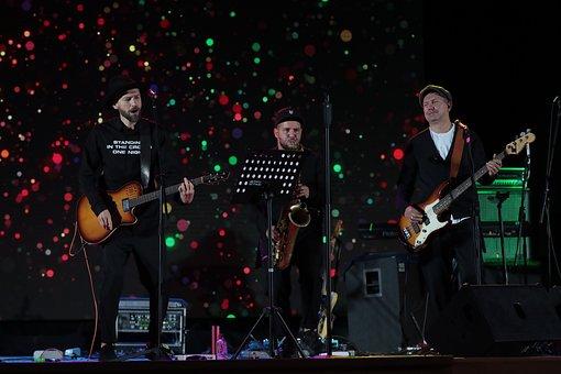 Band, Stage, Musicians, Men, Instruments