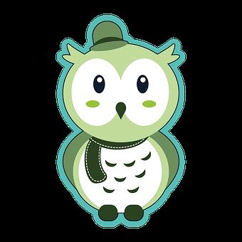 Owl, Baby Owl, Owlet, Line Drawing, Line Art, Cartoon
